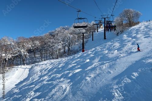 mata magnetyczna スキー場でウインタースポーツを楽しむ人たち