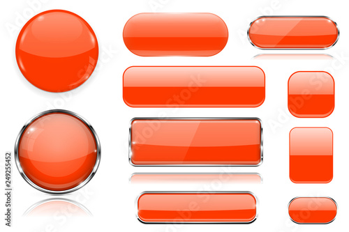 Orange glass buttons. Collection of 3d icons