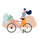 Lifestyle teenage with bicycle illustration design