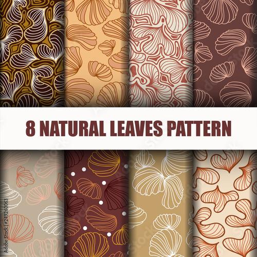 Set 8 Beautiful leaves pattern