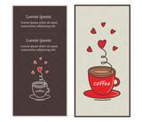 Сafe menu design illustrated a cup of coffee.  Vector illustration.