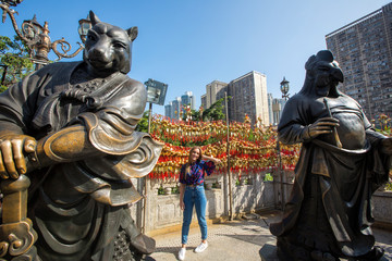 Beautiful woman posing in Hong Kong city