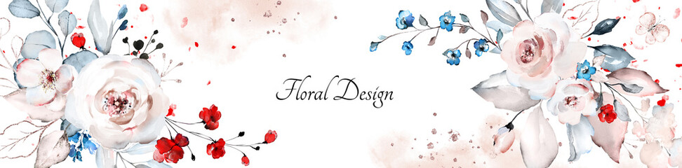 botanical floral design. horizontal  arrangements with roses on white background for wedding invitation, business products. web banner with leaves, flowers © lisima