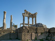 Ruins of the Temple of Trajan in the ancient city of Pergamum or Pergamon's Upper Acropolis area, Izmir Province, Turkey
