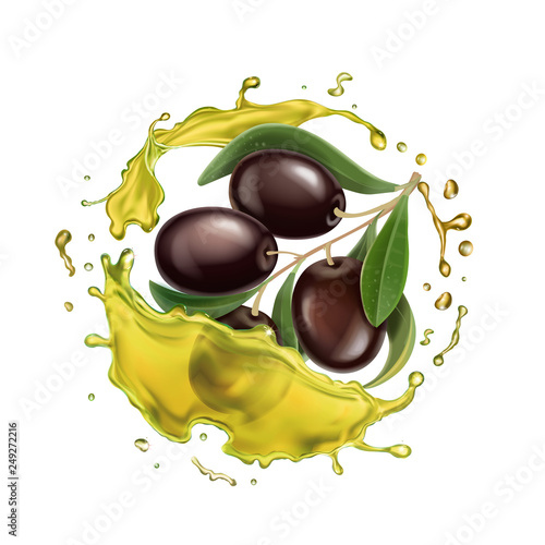 Olive oil splashing isolated Vector - 249272216