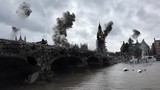 London Destroyed under Attack in war illustration Powerful Video Compositing simulates real video footage with visual effects elements of London big ben and Thames River Destroyed after attack with sm