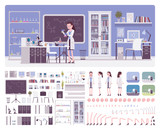 Female young scientist working in laboratory, office interior creation kit, workspace set to build your own design, wall, floor color constructor elements. Cartoon flat style infographic illustration - 249284455