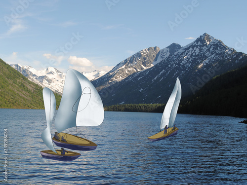 yachts with white sail on the lake in the mountains