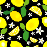 Seamless pattern with decorative lemons, leaves and flowers. Polygons. Cute cartoon. Summer garden. Vector illustration. Can be used for wallpaper, textile, invitation card, wrapping, web page backgro