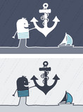 Cartoon black or white people - sailor with anchor