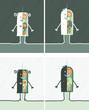 Cartoon black or white people - human anatomy