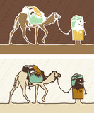 Cartoon black or white people - nomad with camel