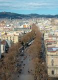 Cityscape of Barcelona city with  the famous Las Ramblas street