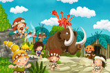 cartoon cavemen village scene with mammoth and volcano in the background - illustration for children