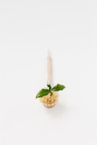 Bamboo dish washing brush with sprout green leaf on white textured background