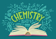 Chemistry. Open book with doodles and lettering.