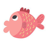 Cute Pink fish vector icon illustration