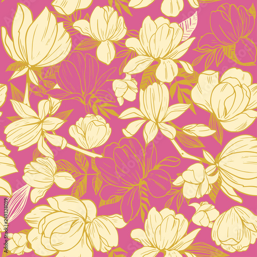 Seamless pattern with magnolia flowers. Vector illustration - 249328039