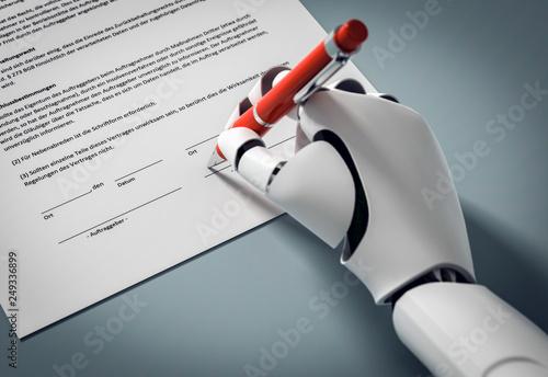 3D Illustration Roboter unterschreibt einen Vertrag mit roten Kugelschreiber © fotomek