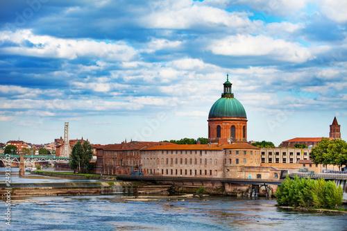 Leinwandbild Motiv Garonne river and Hopital de La Grave, Toulouse