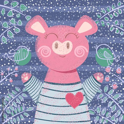 Cute winter pig - children illustration. © HandDraw