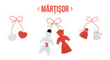 Set, collection of three vector talismans called martisor, traditional accessory for holiday of early spring in Romania and Moldova. - 249342292