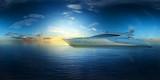 superyacht auf dem ozean bei sonnenaufgang vr 360° 3d render - 249348442