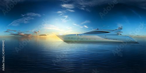 superyacht auf dem ozean bei sonnenaufgang vr 360° 3d render