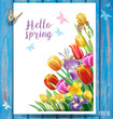 Card with multicolor spring flowers