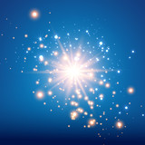 Vector illustration of abstract flare light rays. A set of stars, light and radiance, rays and brightness. Glow light effect. Vector illustration. Christmas flash Concept.