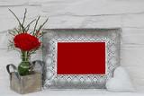 Blanko Fotorahmen mit Rose