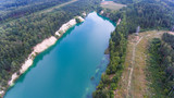 Quarry, filled with turquoise water. - 249380660