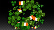 Vector Clover Leaf  and Ireland Flag Isolated on Transparent Background. St. Patrick's Day Illustration. Ireland's Lucky Shamrock Poster. Invitation for Irish Concert in Pub. Tourism in Ireland. - 249384219
