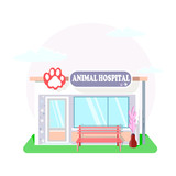 Veterinary medicine or hospital, clinic for animals. Shop or store for vet or veterinarian to cure ill or sick pets disease. Healthcare or treatment for wild or domestic animals. Facade exterior view