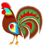 Trendy traditional fashion prints Folk, folklore roosters - cock pattern style
