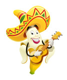 Ripe banana with maracas. Tropical fruit. Cinco de Mayo Mexico holiday. Smiling Cartoon character play music. Isolated white background. Eps10 vector illustration.