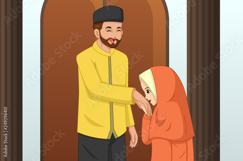 Muslim Girl Kissing Her Father Hand © artisticco