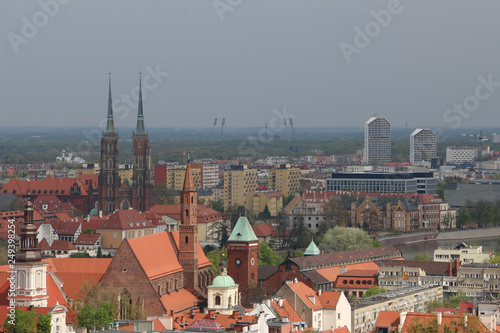 View from the tower of the church of St. Elizabeth to the Cathedral, Ostrów Tumski, old town, churches, Odra River, the Olympic Stadium, dormitories, blocks of flats. Wrocław, Breslau, Wroclaw, Poland © Mateusz