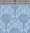 Blue Damask Wallpaper With Ornate Molding - 249406636
