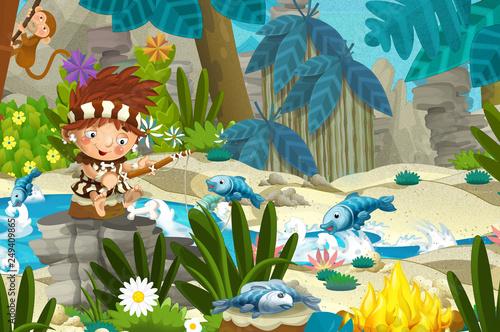 Cartoon scene with prehistoric fishermen near the river fishing - illustration for children - 249409865