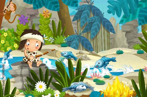 Cartoon scene with prehistoric fishermen near the river fishing - illustration for children - 249410646