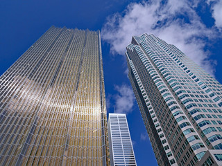 skyscrapers that are the head offices of Canada's largest banks are clustered closely together in Toronto's financial district on Bay Street
