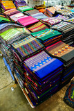 fabrics for sale at market, digital photo picture as a background