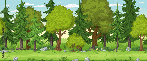 Seamless cartoon forest landscape. Hand draw with separate layers. - 249442668