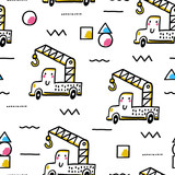 Cute seamless pattern with toy crane and geometric shapes. Creative vector childish background for fabric, textile, nursery wallpaper.