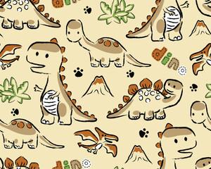 seamless pattern vector with dinosaurs cartoon