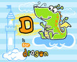 Baby dragon cartoon on striped background - 249455885