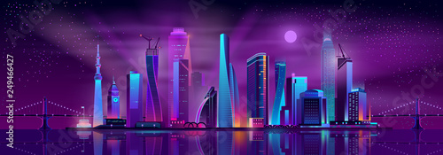 Growing metropolis, city development neon colors, cartoon vector concept. Night cityscape with futuristic urban architecture and cranes on new skyscrapers construction illustration. Urban background