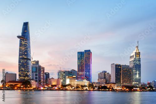 Leinwandbild Motiv Ho Chi Minh City skyline at sunset. Amazing cityscape
