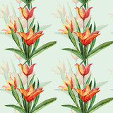 Seamless pattern of yellow-red tulips.